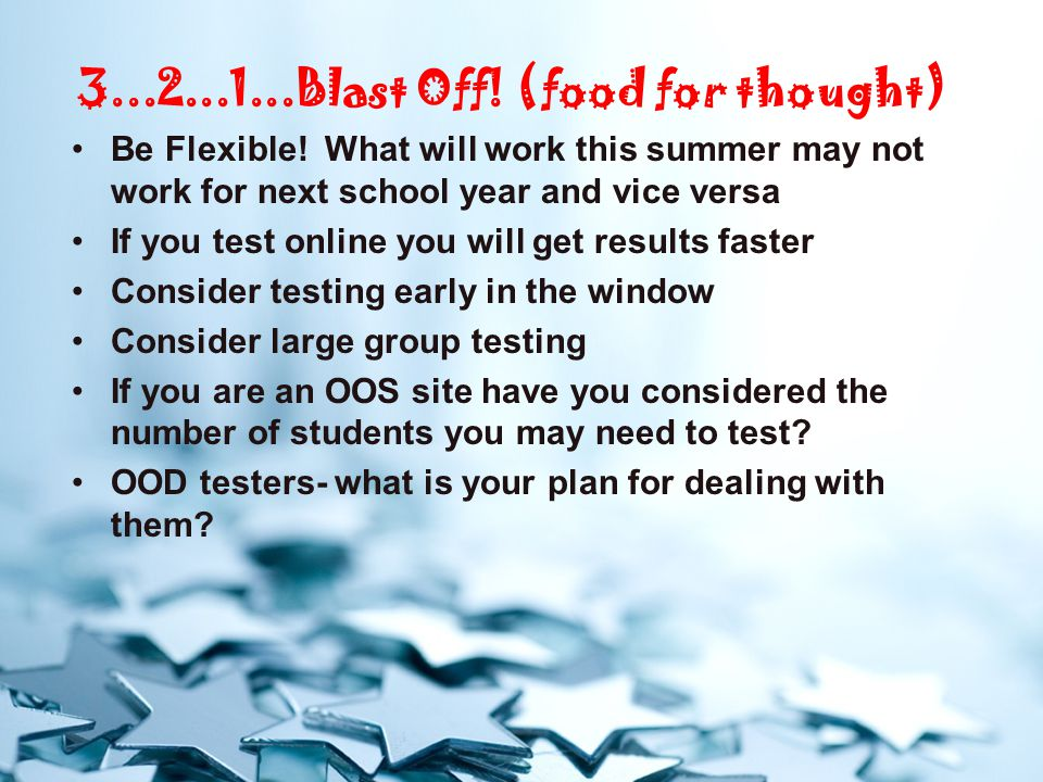 3...2...1...Blast Off.(food for thought) Be Flexible.