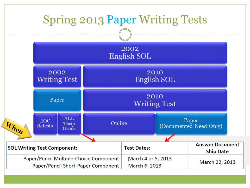 Spring 2013 Paper Writing Tests 2002 English SOL 2002 Writing Test Paper EOC Retests ALL Term Grads 2010 English SOL 2010 Writing Test Online 5 th Grade 8 th Grade EOC Paper (Documented Need Only) 5 th Grade 8 th Grade EOC When