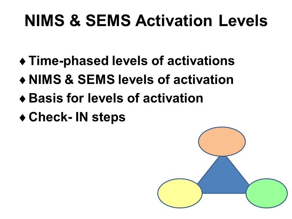 NIMS & SEMS Activation Levels  Time-phased levels of activations  NIMS & SEMS levels of activation  Basis for levels of activation  Check- IN step