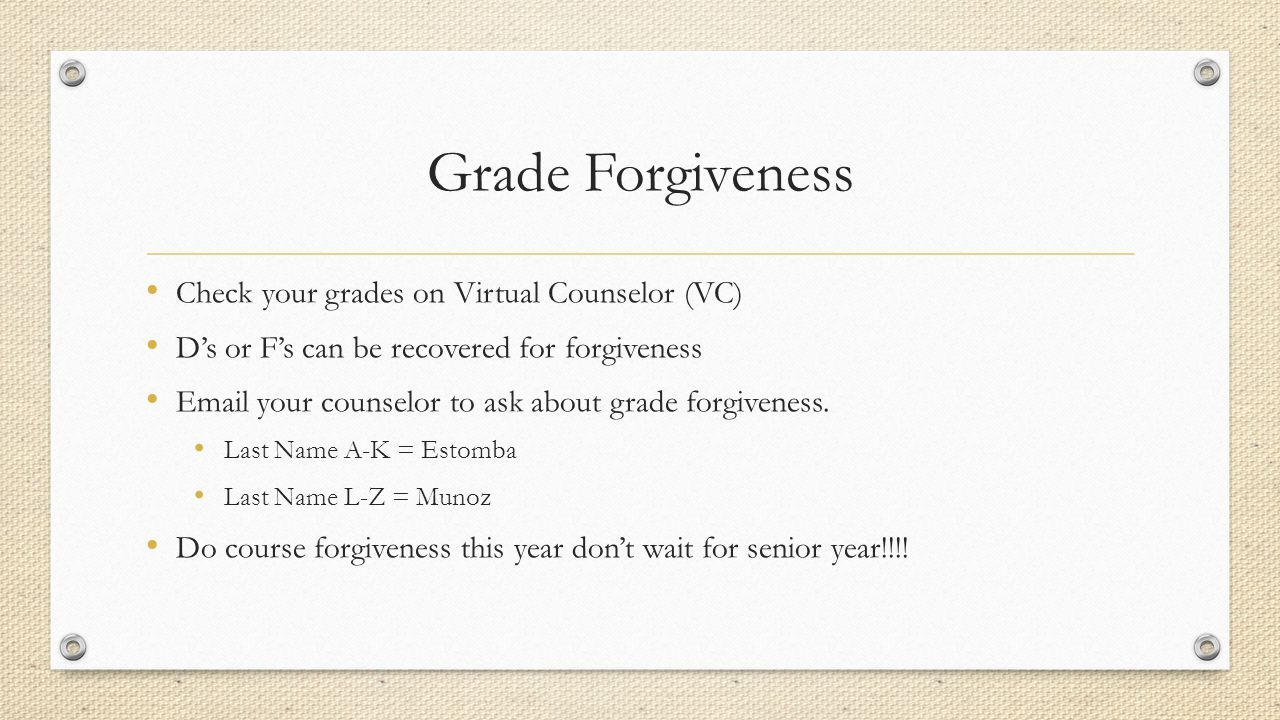 Grade Forgiveness Check your grades on Virtual Counselor (VC) D's or F's can be recovered for forgiveness Email your counselor to ask about grade forgiveness.