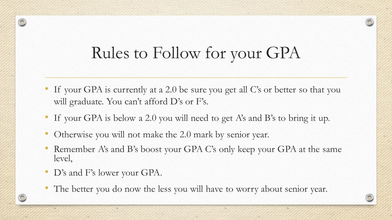 Rules to Follow for your GPA If your GPA is currently at a 2.0 be sure you get all C's or better so that you will graduate.