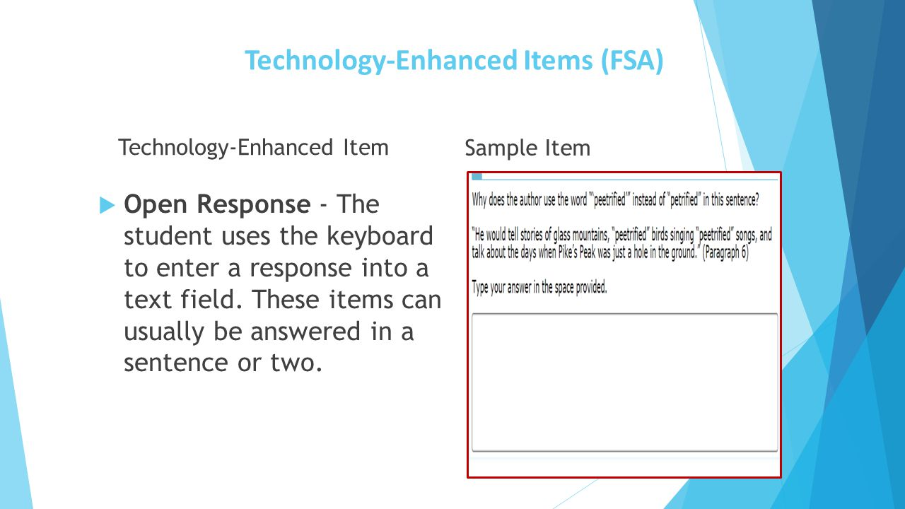 Technology-Enhanced Items (FSA) Technology-Enhanced Item  Open Response - The student uses the keyboard to enter a response into a text field. These