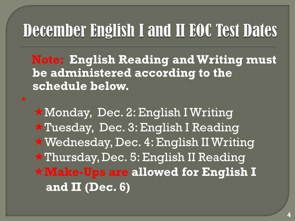 Note: English Reading and Writing must be administered according to the schedule below.