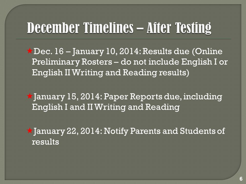 Careful planning is required for students allowed extra testing days.