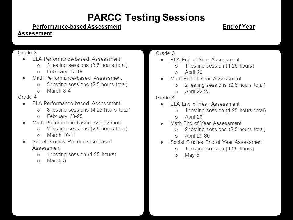 PARCC Testing Sessions Performance-based AssessmentEnd of Year Assessment Grade 3 ●ELA Performance-based Assessment o 3 testing sessions (3.5 hours total) o February 17-19 ●Math Performance-based Assessment o 2 testing sessions (2.5 hours total) o March 3-4 Grade 4 ●ELA Performance-based Assessment o 3 testing sessions (4.25 hours total) o February 23-25 ●Math Performance-based Assessment o 2 testing sessions (2.5 hours total) o March 10-11 ●Social Studies Performance-based Assessment o 1 testing session (1.25 hours) o March 5 Grade 3 ●ELA End of Year Assessment o 1 testing session (1.25 hours) o April 20 ●Math End of Year Assessment o 2 testing sessions (2.5 hours total) o April 22-23 Grade 4 ●ELA End of Year Assessment o 1 testing session (1.25 hours total) o April 28 ●Math End of Year Assessment o 2 testing sessions (2.5 hours total) o April 29-30 ●Social Studies End of Year Assessment o 1 testing session (1.25 hours) o May 5