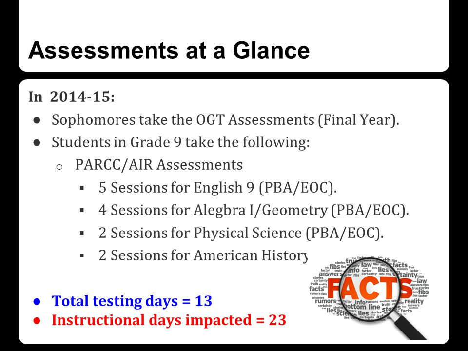 Assessments at a Glance In 2014-15: ● Sophomores take the OGT Assessments (Final Year).