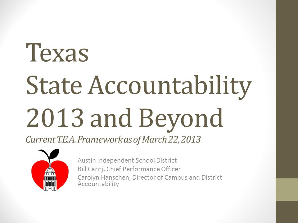Chief Performance Officer Departments and Functions District and Campus Accountability Monitoring and Support Compliance for AU/AYP schools Performance Management Planning System-wide Testing TELPAS, EOC, STAAR, ITBS, CogAT, NAEP, credit-by-exam Online testing (TELPAS, STAAR, EOC) Research and Evaluation Survey Research Growth Modeling (REACH) Program evaluation External data and research requests Public Education Information Management System (PEIMS) Manages AISD data for mandatory Texas Public School database Formative Assessment 2