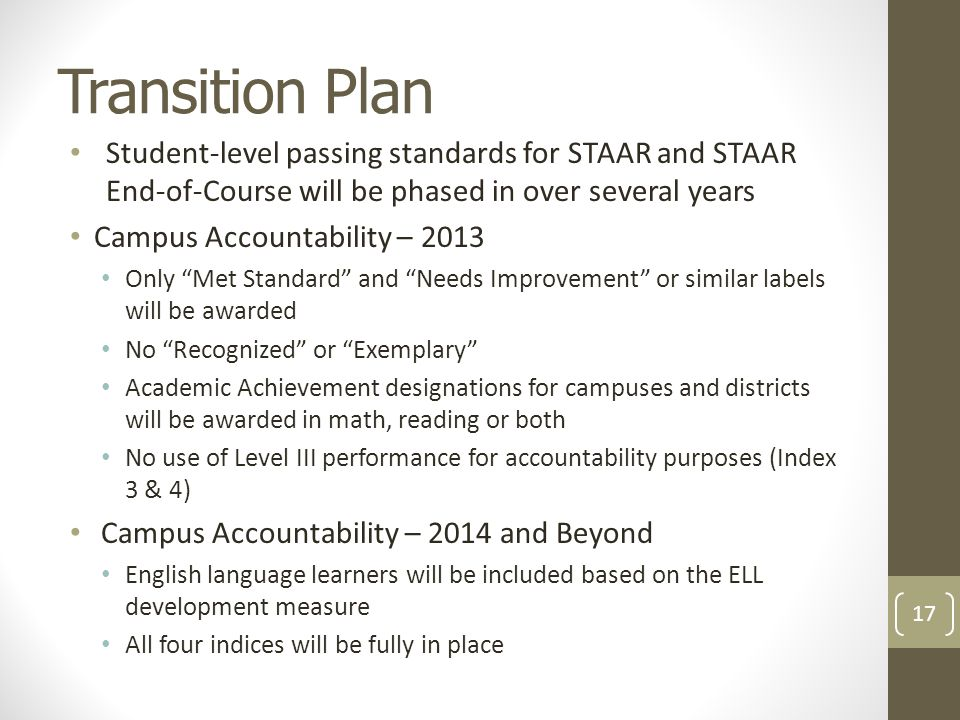 Transition Plan Student-level passing standards for STAAR and STAAR End-of-Course will be phased in over several years Campus Accountability – 2013 Only Met Standard and Needs Improvement or similar labels will be awarded No Recognized or Exemplary Academic Achievement designations for campuses and districts will be awarded in math, reading or both No use of Level III performance for accountability purposes (Index 3 & 4) Campus Accountability – 2014 and Beyond English language learners will be included based on the ELL development measure All four indices will be fully in place 17
