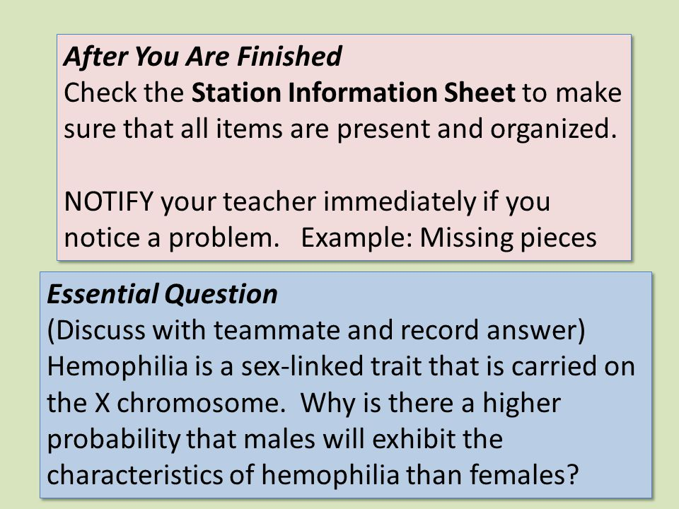 After You Are Finished Check the Station Information Sheet to make sure that all items are present and organized. NOTIFY your teacher immediately if y