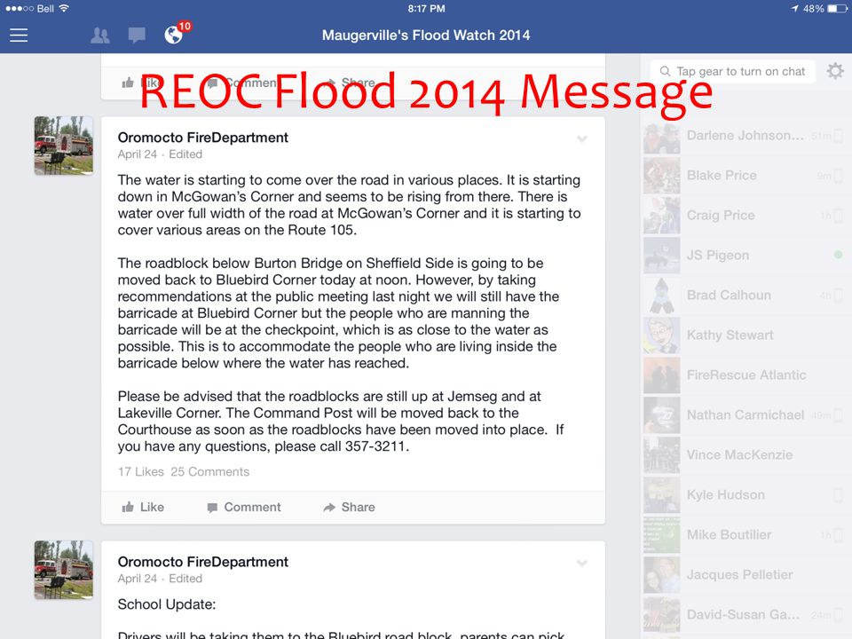 REOC Flood 2014 Message