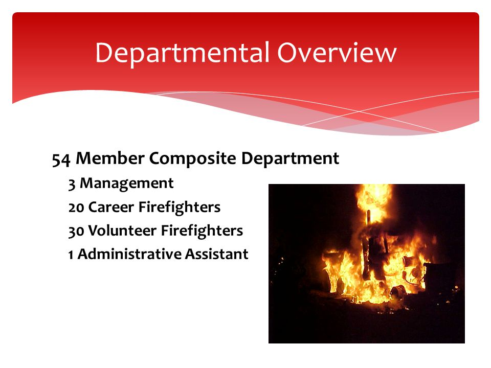 54 Member Composite Department 3 Management 20 Career Firefighters 30 Volunteer Firefighters 1 Administrative Assistant Departmental Overview