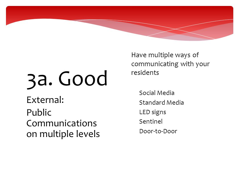 External: Public Communications on multiple levels 3a. Good  Have multiple ways of communicating with your residents  Social Media  Standard Media