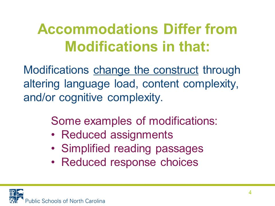 Accommodations Differ from Modifications in that: Modifications change the construct through altering language load, content complexity, and/or cognitive complexity.
