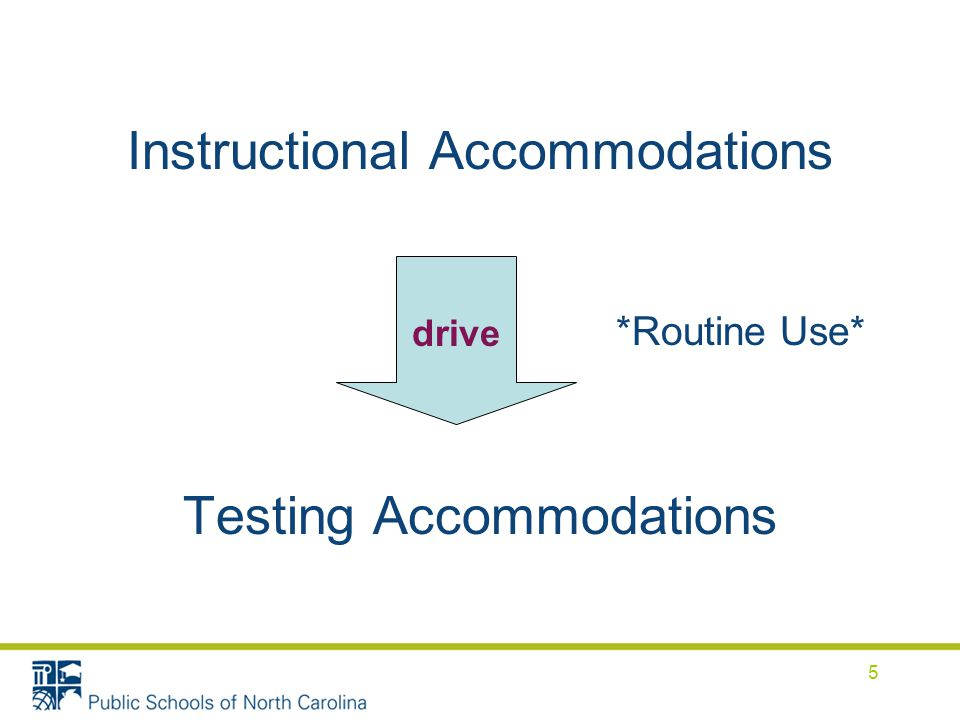 Instructional Accommodations *Routine Use* Testing Accommodations drive 5