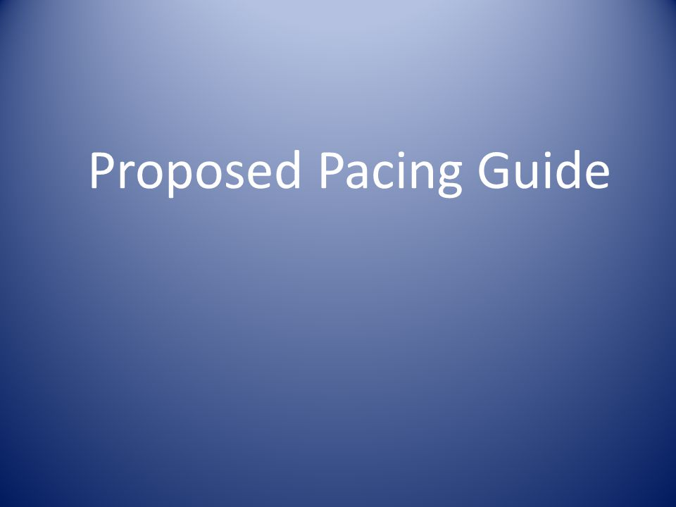 Proposed Pacing Guide