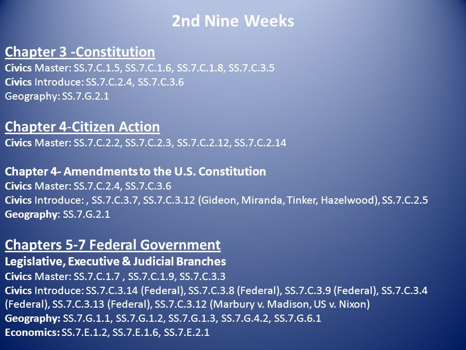2nd Nine Weeks Chapter 3 -Constitution Civics Master: SS.7.C.1.5, SS.7.C.1.6, SS.7.C.1.8, SS.7.C.3.5 Civics Introduce: SS.7.C.2.4, SS.7.C.3.6 Geograph