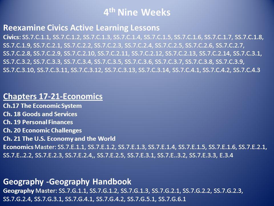 4 th Nine Weeks Reexamine Civics Active Learning Lessons Civics: SS.7.C.1.1, SS.7.C.1.2, SS.7.C.1.3, SS.7.C.1.4, SS.7.C.1.5, SS.7.C.1.6, SS.7.C.1.7, S