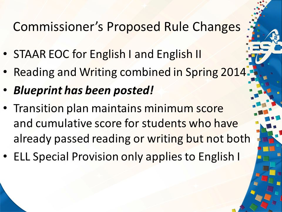 Commissioner's Proposed Rule Changes STAAR EOC for English I and English II Reading and Writing combined in Spring 2014 Blueprint has been posted.