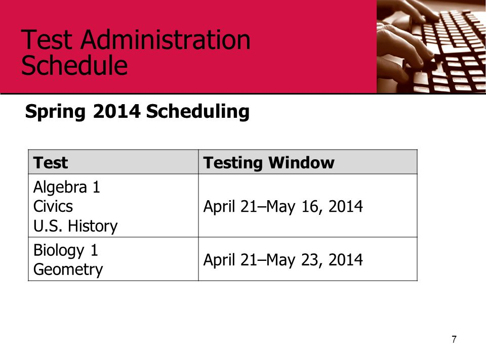 Test Administration Schedule Spring 2014 Scheduling 7 TestTesting Window Algebra 1 Civics U.S.