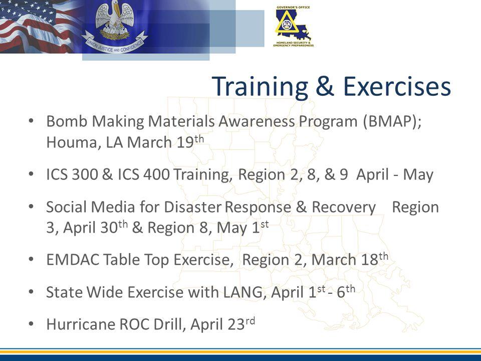 Bomb Making Materials Awareness Program (BMAP); Houma, LA March 19 th ICS 300 & ICS 400 Training, Region 2, 8, & 9 April - May Social Media for Disast