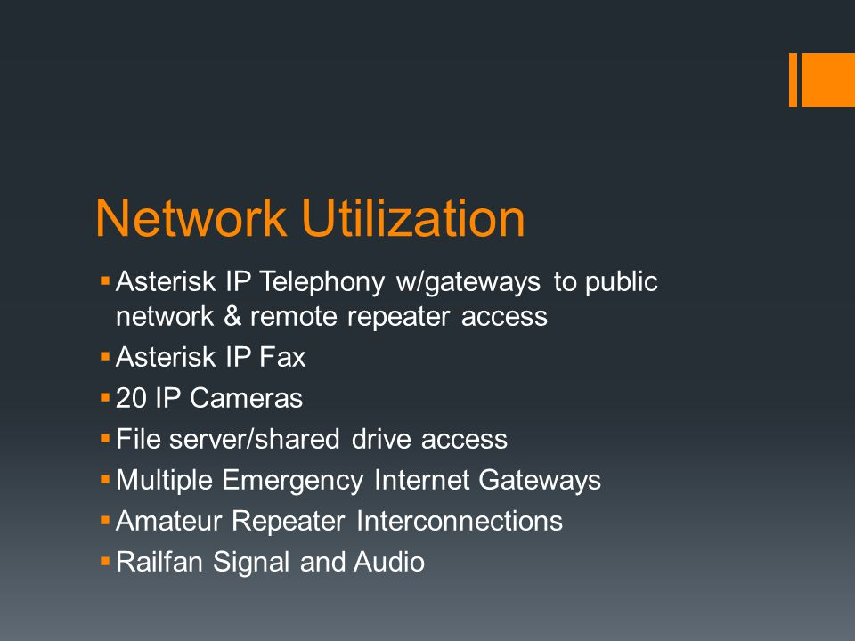 Network Utilization  Asterisk IP Telephony w/gateways to public network & remote repeater access  Asterisk IP Fax  20 IP Cameras  File server/shar
