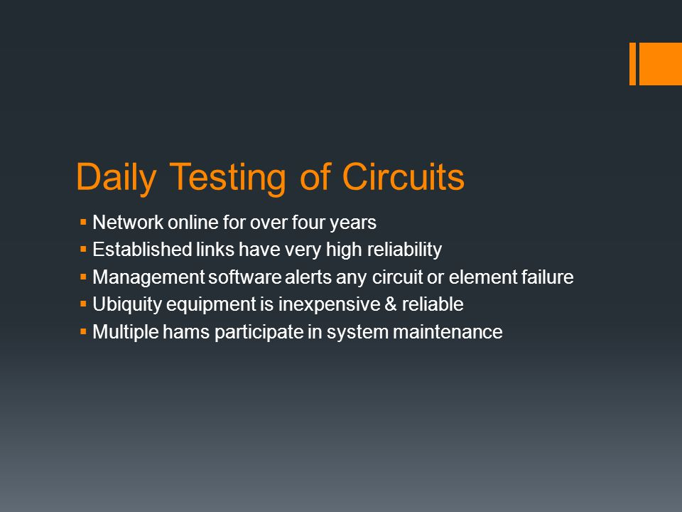 Daily Testing of Circuits  Network online for over four years  Established links have very high reliability  Management software alerts any circuit