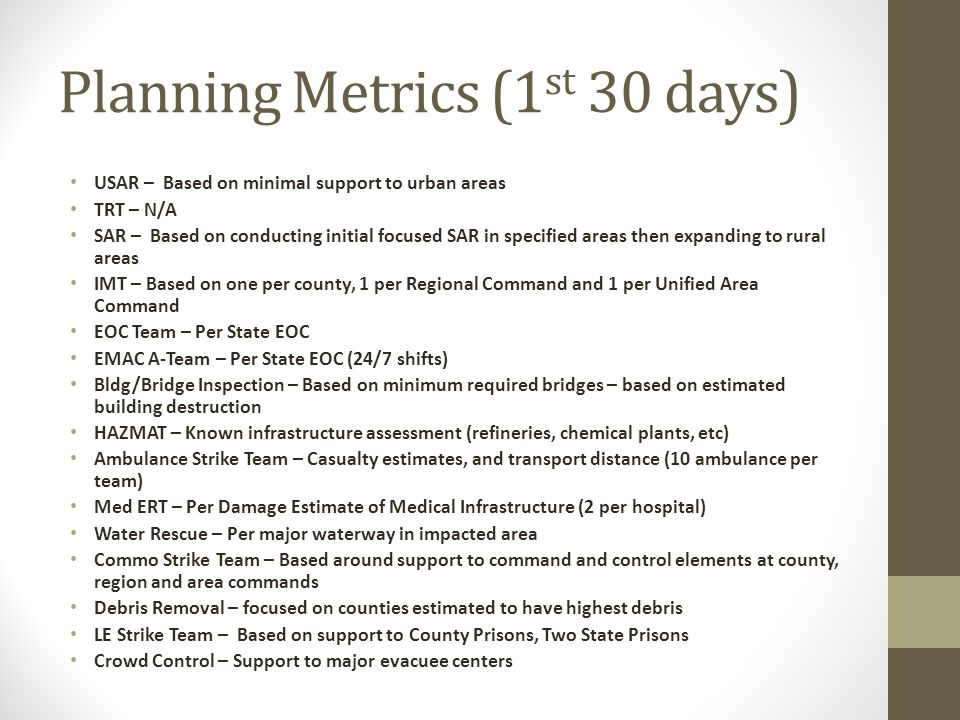 Planning Metrics (1 st 30 days) USAR – Based on minimal support to urban areas TRT – N/A SAR – Based on conducting initial focused SAR in specified ar