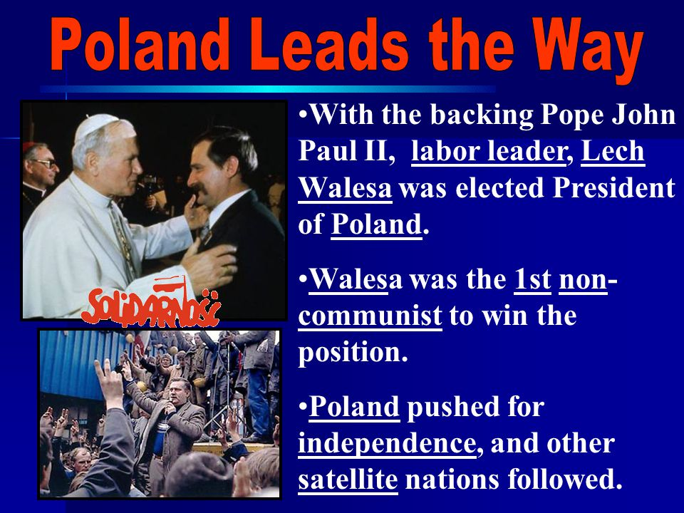 With the backing Pope John Paul II, labor leader, Lech Walesa was elected President of Poland.