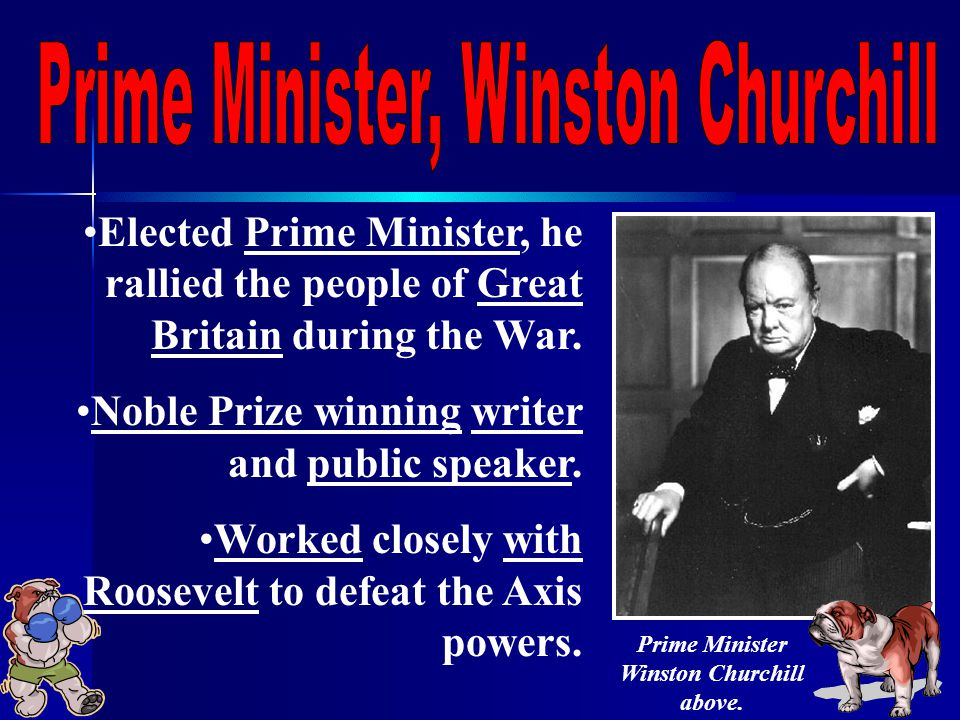 Elected Prime Minister, he rallied the people of Great Britain during the War.