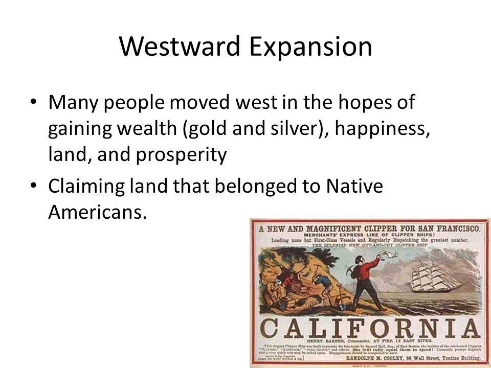 Westward Expansion Railroad – Allowed farmers and ranchers to ship products – Moved people to western cities – Transcontinental railroad Union Pacific and Central Pacific joined tracks in Utah (1869) Linked east to west