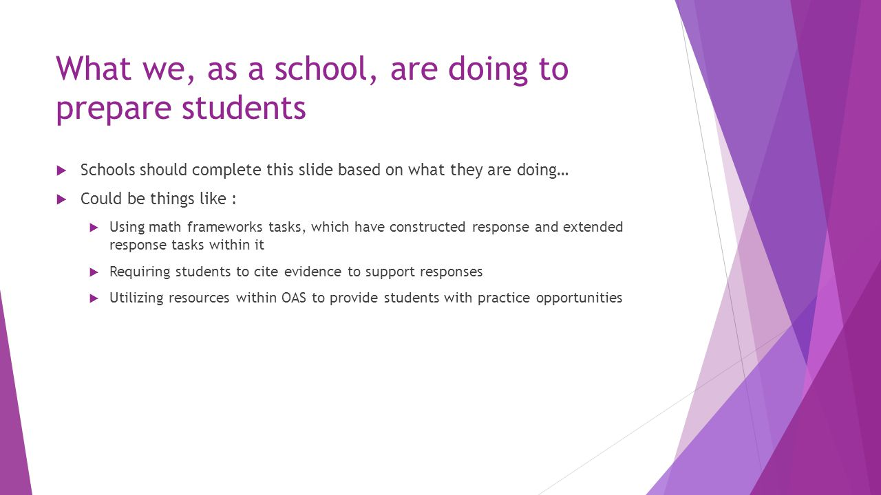 What we, as a school, are doing to prepare students  Schools should complete this slide based on what they are doing…  Could be things like :  Usin