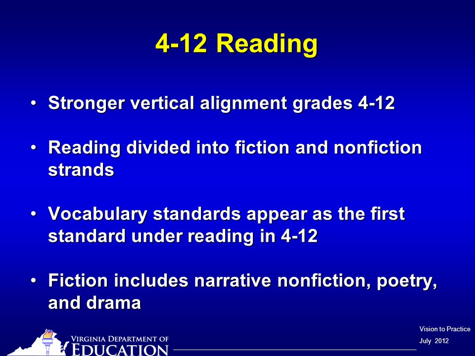 Vision to Practice July 2012 4-12 Reading Stronger vertical alignment grades 4-12Stronger vertical alignment grades 4-12 Reading divided into fiction and nonfiction strandsReading divided into fiction and nonfiction strands Vocabulary standards appear as the first standard under reading in 4-12Vocabulary standards appear as the first standard under reading in 4-12 Fiction includes narrative nonfiction, poetry, and dramaFiction includes narrative nonfiction, poetry, and drama