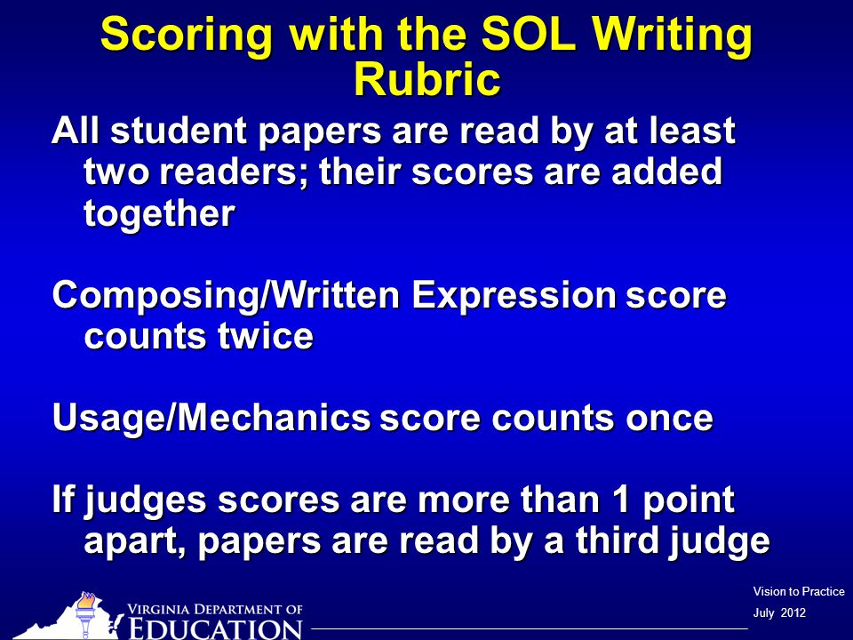 Vision to Practice July 2012 Scoring with the SOL Writing Rubric All student papers are read by at least two readers; their scores are added together Composing/Written Expression score counts twice Usage/Mechanics score counts once If judges scores are more than 1 point apart, papers are read by a third judge