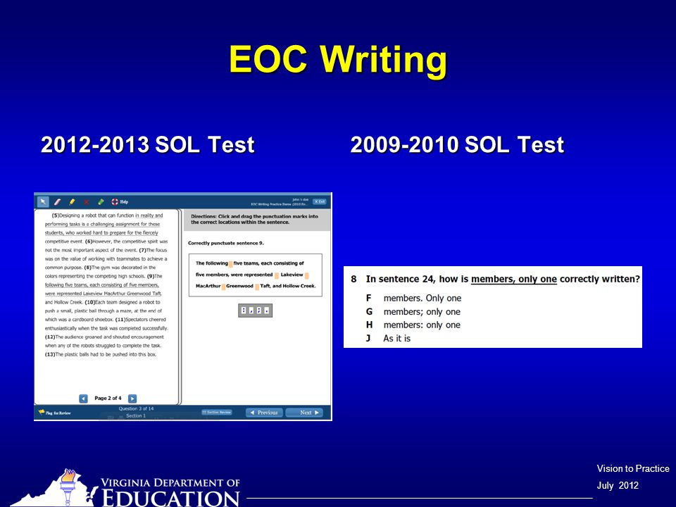 Vision to Practice July 2012 EOC Writing 2012-2013 SOL Test 2009-2010 SOL Test