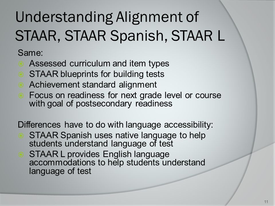 Understanding Alignment of STAAR, STAAR Spanish, STAAR L Same:  Assessed curriculum and item types  STAAR blueprints for building tests  Achievement standard alignment  Focus on readiness for next grade level or course with goal of postsecondary readiness Differences have to do with language accessibility:  STAAR Spanish uses native language to help students understand language of test  STAAR L provides English language accommodations to help students understand language of test 11