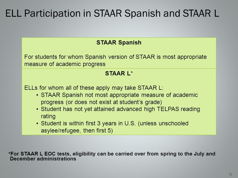 ELL Participation in STAAR Spanish and STAAR L 12 *For STAAR L EOC tests, eligibility can be carried over from spring to the July and December administrations STAAR Spanish For students for whom Spanish version of STAAR is most appropriate measure of academic progress STAAR L* ELLs for whom all of these apply may take STAAR L: STAAR Spanish not most appropriate measure of academic progress (or does not exist at student's grade) Student has not yet attained advanced high TELPAS reading rating Student is within first 3 years in U.S.