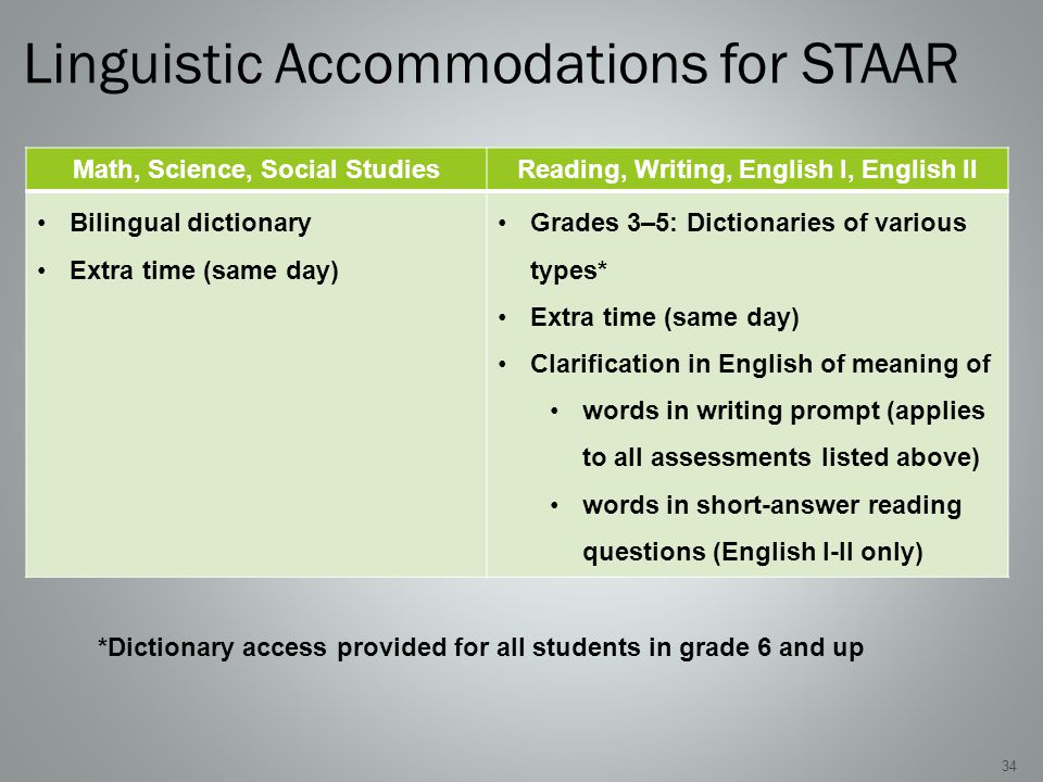 Linguistic Accommodations for STAAR 34 Math, Science, Social StudiesReading, Writing, English I, English II Bilingual dictionary Extra time (same day) Grades 3–5: Dictionaries of various types* Extra time (same day) Clarification in English of meaning of words in writing prompt (applies to all assessments listed above) words in short-answer reading questions (English I-II only) *Dictionary access provided for all students in grade 6 and up