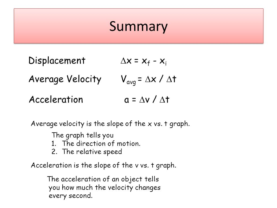 Summary Displacement  x = x f - x i Average Velocity V avg =  x /  t Acceleration a =  v /  t Average velocity is the slope of the x vs.