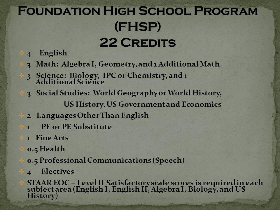  4 English  3 Math: Algebra I, Geometry, and 1 Additional Math  3 Science: Biology, IPC or Chemistry, and 1 Additional Science  3 Social Studies: World Geography or World History, US History, US Government and Economics  2 Languages Other Than English  1 PE or PE Substitute  1 Fine Arts  0.5 Health  0.5 Professional Communications (Speech)  4 Electives  STAAR EOC – Level II Satisfactory scale scores is required in each subject area (English I, English II, Algebra I, Biology, and US History)