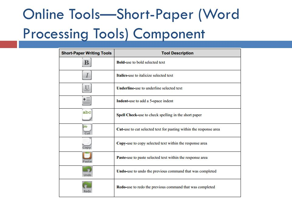 Online Tools—Short-Paper (Word Processing Tools) Component