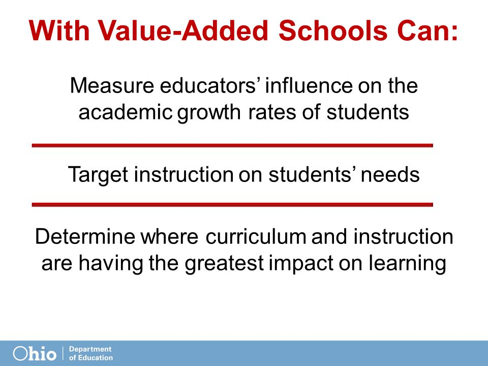 With Value-Added Schools Can: Measure educators' influence on the academic growth rates of students Target instruction on students' needs Determine where curriculum and instruction are having the greatest impact on learning Using this growth metric, teachers and schools can begin interpreting the impact of their curriculum, instruction, programs and practices on student achievement.