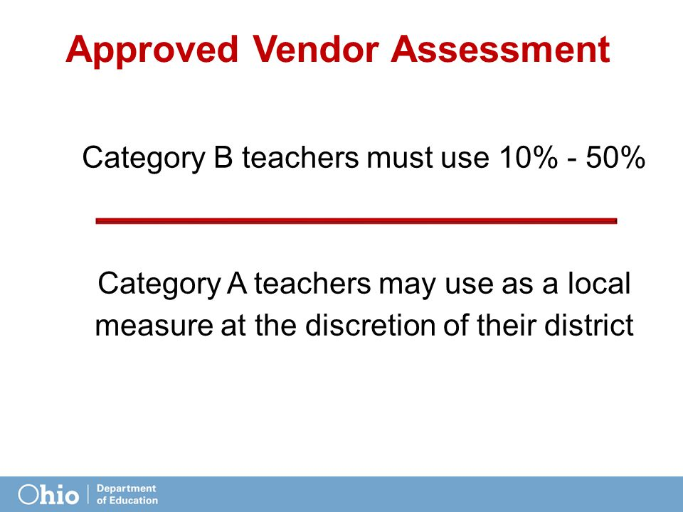 Approved Vendor Assessment Category B teachers must use 10% - 50% Category A teachers may use as a local measure at the discretion of their district