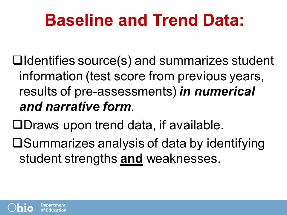 Baseline and Trend Data:  Identifies source(s) and summarizes student information (test score from previous years, results of pre-assessments) in numerical and narrative form.