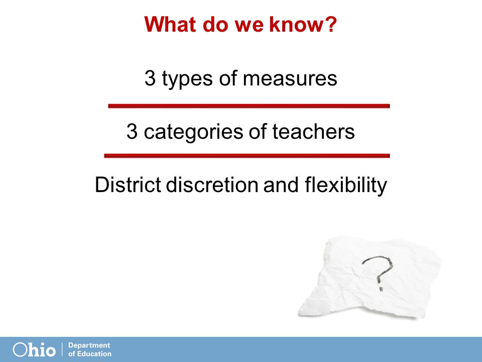 What do we know? 3 types of measures 3 categories of teachers District discretion and flexibility