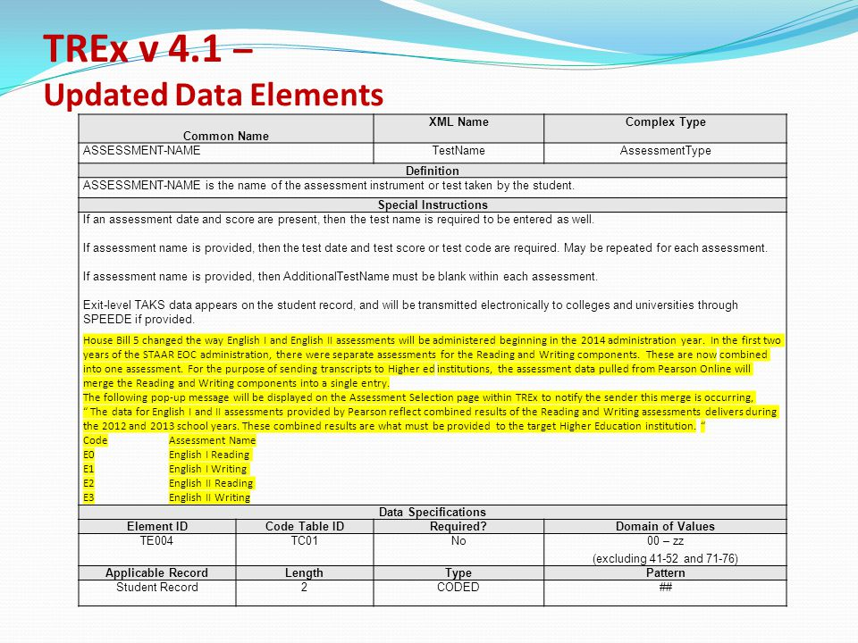 TREx v 4.1 – Updated Data Elements Common Name XML NameComplex Type ASSESSMENT-NAMETestNameAssessmentType Definition ASSESSMENT-NAME is the name of the assessment instrument or test taken by the student.