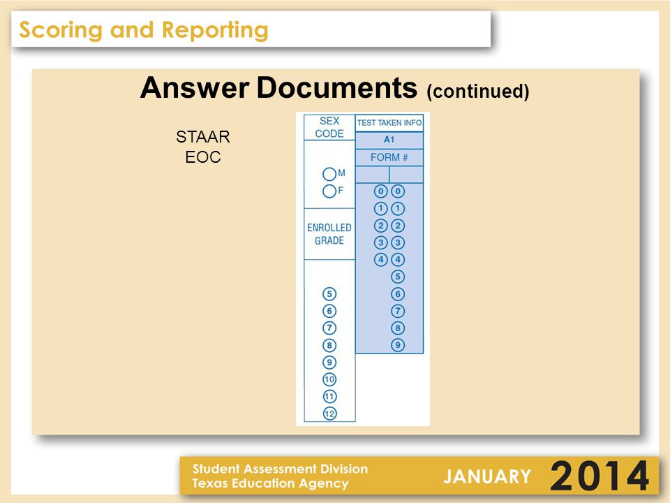 Answer Documents (continued) STAAR EOC