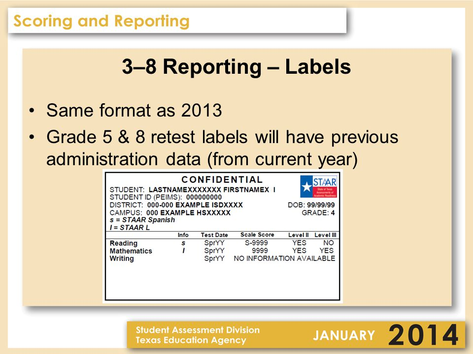 3–8 Reporting – Rosters Separate rosters for each subject Separate rosters for STAAR, STAAR Spanish, STAAR L, STAAR Modified, and STAAR Alternate All Students Students Not Achieving Satisfactory Performance (not provided for Modified or Alternate) Includes STAAR or ELL Progress Measure where applicable Total Students Tested has been added PDF Online