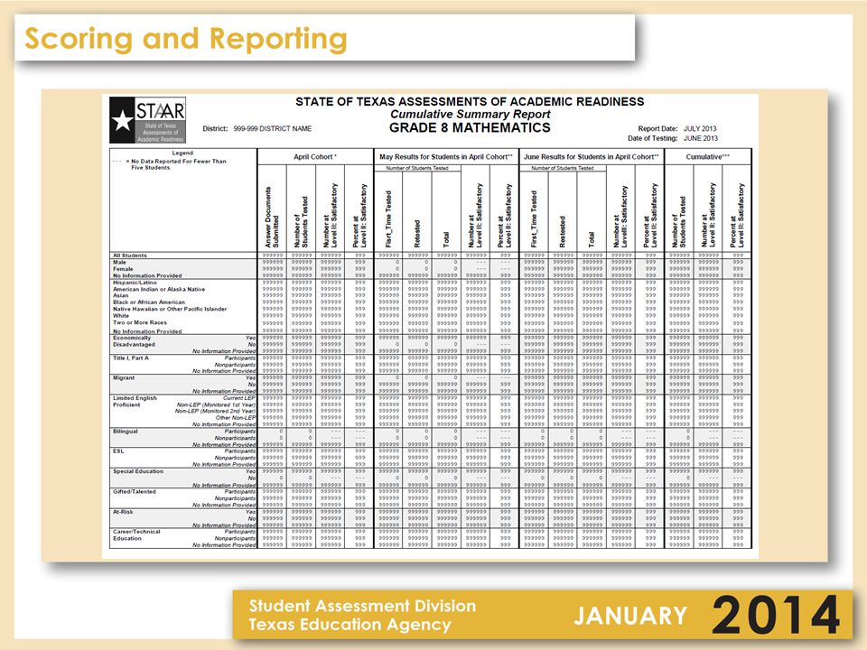 3–8 Reporting – Data File One data file for each administration for STAAR 3–8 (same format for each administration) –Will include item level data for both STAAR and STAAR Modified for the primary administrations only –Student Expectation information will be posted on TEA's website (primary administrations only) –Will contain previous year history information