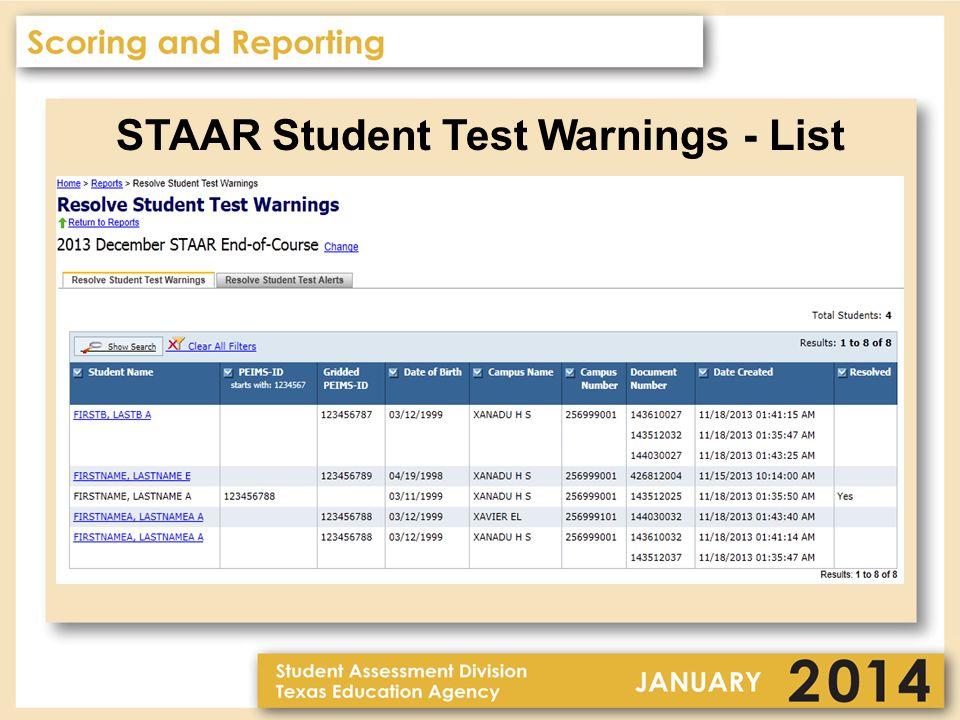 STAAR Student Test Warnings - List