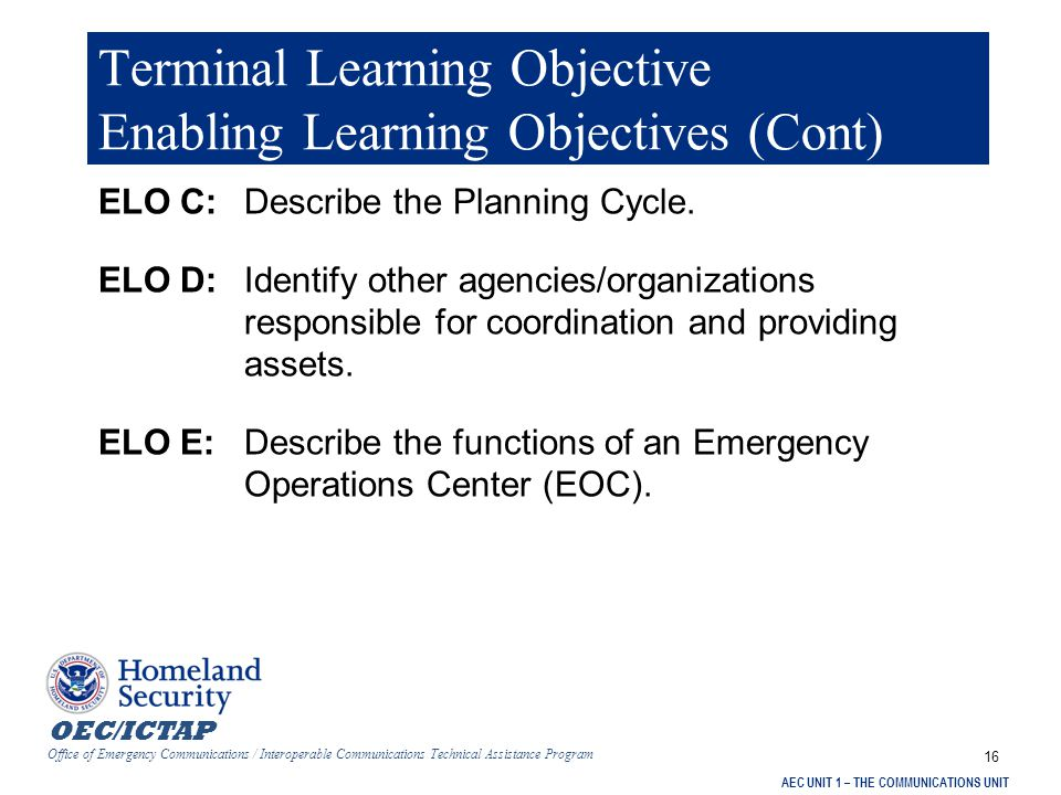 OEC/ICTAP Office of Emergency Communications / Interoperable Communications Technical Assistance Program AEC UNIT 1 – THE COMMUNICATIONS UNIT 47 Unit 1: Summary 4)Described the Planning Cycle.
